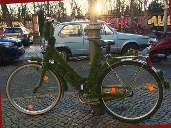 Weihnachtlich geschmücktes Rad (© Anne Schüchner)
