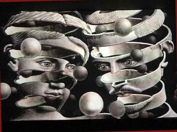Filmstill Escher und seine Frau Yetta aus der Doku (©cinemaids/ the M. C. Escher Company B.V.- Baarn – the Netherlands)