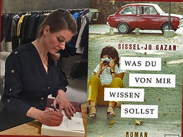 Sissel Jo Gazan signiert und Collage Buchcover 'Was Du vo mir wissen solltest', (Foto:Anne Schüchner)